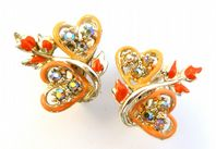 Vintage Rhinestone And Enamel Double Heart Clip On Earrings By Jewelcraft.